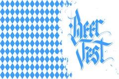 Oktoberfest celebration background with handwritten text Beer Fest and brush stroke. German Beer Festival vector illustration Stock Images