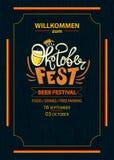 Oktoberfest celebration background, poster template. Logo. German Lettering typography. Beer festival,  illustration Stock Photos