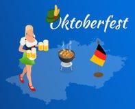 Oktoberfest celebration design. With Bavarian hat and autumn leaves Royalty Free Stock Image