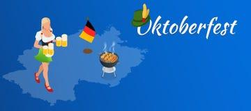Oktoberfest celebration design. With Bavarian hat and autumn leaves Royalty Free Stock Photos