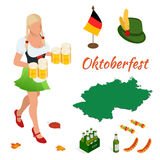 Oktoberfest celebration design. With Bavarian hat and autumn leaves Royalty Free Stock Photography