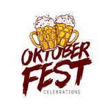 Oktoberfest Celebration. Trend calligraphy. Oktoberfest Celebration. The trend calligraphy. Vector illustration on white background. Two mugs of beer. Excellent Stock Photo