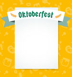 Oktoberfest celebration vector background poster. Oktoberfest vector illustration background with text. Beer Oktoberfest German festival vector background. Keg Stock Images