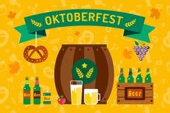 Oktoberfest celebration vector background poster. Oktoberfest vector illustration background with text. Beer Oktoberfest German festival vector background. Keg Royalty Free Stock Photo