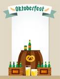 Oktoberfest celebration vector background poster. Oktoberfest vector illustration background with text. Beer Oktoberfest German festival vector background. Keg Stock Photo
