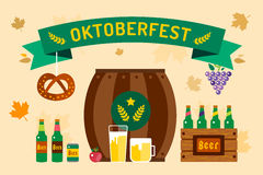 Oktoberfest celebration vector background poster. Oktoberfest vector illustration background with text. Beer Oktoberfest German festival vector background. Keg Royalty Free Stock Photography