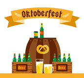 Oktoberfest celebration vector background poster. Oktoberfest vector illustration background text. Beer Oktoberfest German festival vector background. Keg of Royalty Free Stock Image