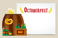 Oktoberfest celebration vector background poster. Octoberfest vector illustration background with text. Beer German festival vector background. Keg of beer Stock Image