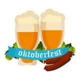 Oktoberfest celebration vector background with two beer mugs. Oktoberfest celebration vector with two beer mugs. Oktoberfest beer banner festival pub sign Royalty Free Stock Image