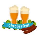 Oktoberfest celebration vector background with two beer mugs. Oktoberfest celebration vector with two beer mugs. Oktoberfest beer banner festival pub sign Stock Photography