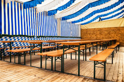 Oktoberfest. Chairs at a bavarian beergarden -oktoberfest royalty free stock photography