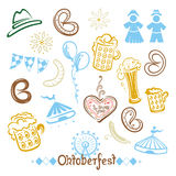 Oktoberfest, ciambellina salata, birra Illustrazione Vettoriale