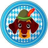 Oktoberfest circle dog button Stock Images