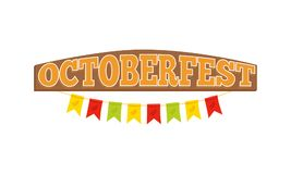 Oktoberfest Colorful Inscription on Wooden Board. Vector illustration with colorful flags isolated on white background. Greeting sticker on festival Stock Photos