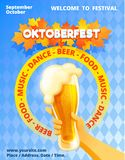 Oktoberfest concept banner, cartoon style royalty free illustration