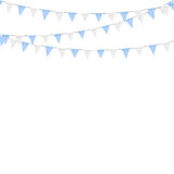 Oktoberfest decoration. Decorated in traditional colors of Bavaria. Bunting flags Stock Photos