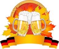 Oktoberfest design. With beer glasses Stock Photos