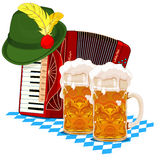Oktoberfest design. With accordion, beer and Bavarian hat Stock Images