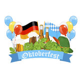 Oktoberfest design background beer festival  banner bavarian design illustration. Stock Photo