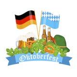 Oktoberfest design background beer festival  banner bavarian design illustration. Stock Photos
