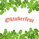 Oktoberfest design background beer festival vector banner bavarian design illustration. German text Oktoberfest traditional label hop template Stock Photo
