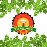Oktoberfest design background beer festival vector banner bavarian design illustration. German text Oktoberfest traditional label hop template Royalty Free Stock Photo