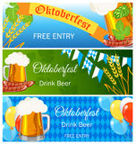 Oktoberfest design background beer festival vector banner bavarian design illustration. German text Oktoberfest traditional label hop template Stock Images