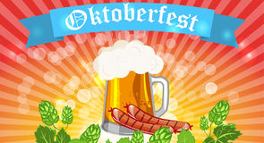 Oktoberfest design background beer festival vector banner bavarian design illustration. German text Oktoberfest traditional label hop template Stock Image