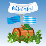 Oktoberfest design background beer festival vector banner bavarian design illustration. German text Oktoberfest traditional label hop template Stock Photography