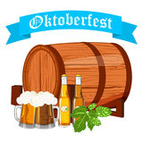 Oktoberfest design background beer festival vector banner bavarian design illustration. German text Oktoberfest traditional label hop template Royalty Free Stock Image