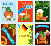 Oktoberfest design background beer festival vector banner bavarian design illustration. German text Oktoberfest traditional label hop template Royalty Free Stock Photos