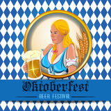 Oktoberfest design with cute girl Royalty Free Stock Photography