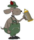 Oktoberfest Dog. This illustration depicts a dog dressed in traditional German attire with a beer stein Royalty Free Stock Photo