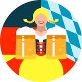 Oktoberfest dziewczyna na round tle w Niemieckich i Bawarskich chorągwianych kolorach fotografia stock