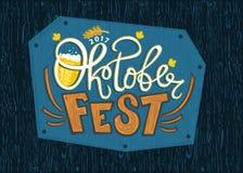 Oktoberfest, embleem, Typografisch ontwerp Royalty-vrije Stock Foto's