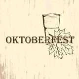 Oktoberfest emblem in hand drawn sketch style. On grunge paper texture Royalty Free Stock Photography