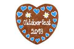 Oktoberfest 2018 engl. october festival Gingerbread heart with. White isolated background. seasonal event in Munich Germany royalty free stock photography