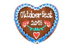 Oktoberfest 2018 engl. october festival Gingerbread heart with. White isolated background. seasonal event in Munich Germany royalty free stock photos