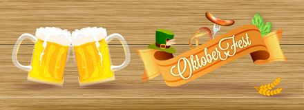 Oktoberfest event concept, two beer mugs, sausage with fork, pretzel, hops, wheat grain and hat on wooden texture background for. Website header or banner stock illustration