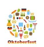 Oktoberfest färgrika symboler i rund ram Arkivbild