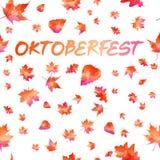 Oktoberfest-Feierdesign mit bayerischem Hut und Herbstlaub lizenzfreie abbildung
