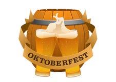 Oktoberfest festival cold beer on a background of barrel Stock Image