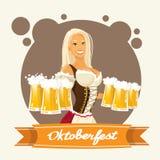 Oktoberfest Festival Girl Hold Beer Mug Glasses Stock Photography