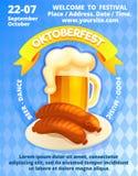 Oktoberfest-Festival-Konzeptfahne, Karikaturart lizenzfreie abbildung