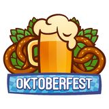 Oktoberfest festival logo, cartoon style royalty free illustration