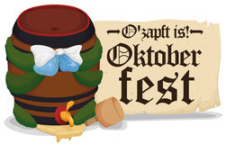 Oktoberfest Festive Beer Barrel Opened with the Mallet, Vector Illustration. Banner with festive Oktoberfest beer barrel opened with the mallet and scroll with Royalty Free Stock Photo