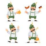 Oktoberfest firar har roliga tecknad filmtecken i folk dräkter av Bayern och gyckel på den Oktoberfest ölfestivalen royaltyfri illustrationer