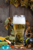 Oktoberfest with fishing tackles and glass a beer Royalty Free Stock Photo