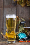 Oktoberfest with fishing tackles and glass a beer Stock Photo