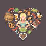 Oktoberfest flat icons arranged into heart stock illustration